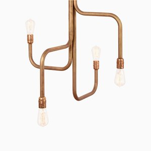 Raw Brass Strapatz Chandelier by Sabina Grubbeson for Konsthantverk Tyringe