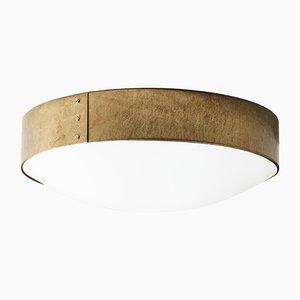 Large Raw Brass Svep Ceiling Lamp from Konsthantverk Tyringe