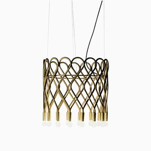 Eld Brass Flush Mount Chandelier by Lisa Hilland for Konsthantverk Tyringe