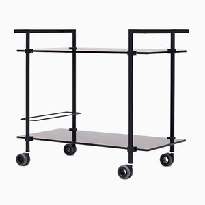 Charcoal Metal & Black Glass Pioneer T63S Tea Trolley by Peter Ghyczy