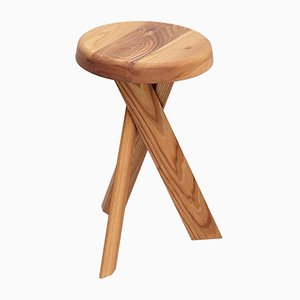 S31B Solid Elm Stool by Pierre Chapo