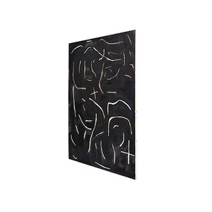 Black Abstract Painting on Wood by Adrian