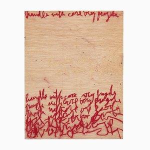 Abstraktes Gemälde auf Holz von Adrian