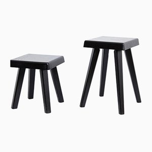 Tabourets Noirs Pierre Chapo, Set of 2