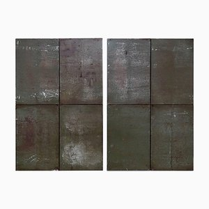 Large Minimalist Metal 2/2/2 N 001 Diptych by Ramon Horts