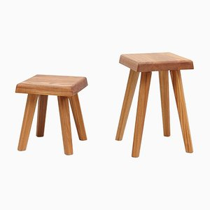 Solid Elm Stools by Pierre Chapo for Chapo Creations, Set of 2
