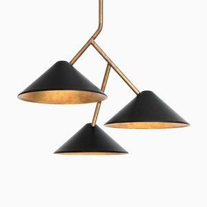 Schwarze Deckenlampe aus Messing von Johan Carpner Grenverk für Konsthantverk Tyringe