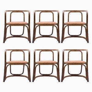 Italienische Esszimmerstühle aus Stoff & Bambus, 1960er, 6er Set