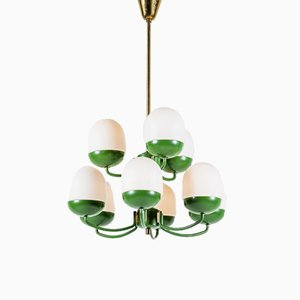Mid-Century Scandinavian Green Metal and White Milk Glass Chandelier, 1960s