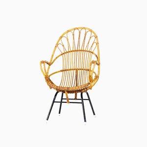 Sessel für die Terrasse oder das Wohnzimmer aus Metall und Rattan von Rohé Noordwolde, 1960er