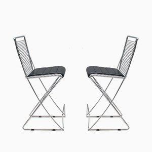 Deutsche Kreuzschwinger Stühle von Till Behrens für Schlubach, 1980er, 2er Set