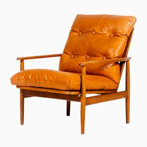 Mid-Century Danish Armchair with Cognac Leather Cushions, 1960s
