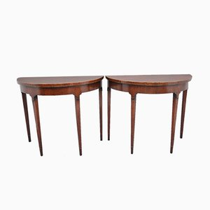 Vintage Mahogany Console Tables, Set of 2