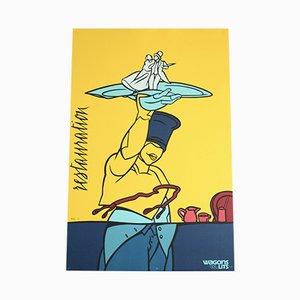 Wagon Lits Siebdruck von Valerio Adami für Michel Caza, 1988