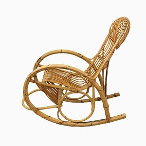 Mid-Century Italian Bamboo Rocking Chair, 1950s