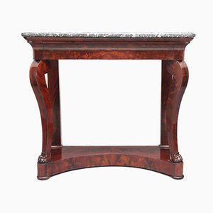 19th-Century Mahogany Console Table with Marble Top