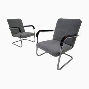 Midcentury Bauhaus Armlehnstühle aus verchromtem Stahl von Michael Thonet, 1930er, 2er Set