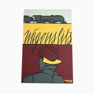 Wagons Lits Plakat mit Siebdruck von Valerio Adami für Michel Caza, 1990er