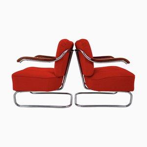 Poltrone Bauhaus in stoffa rossa di Michael Thonet, anni '20, set di 2