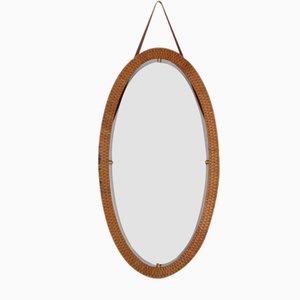 Mid-Century Oval Wicker Mirror, 1960s