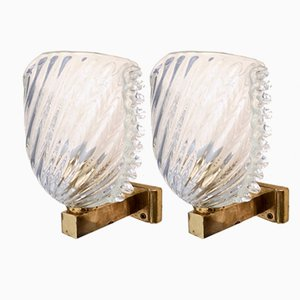 Italian Brass and Murano Glass Sconces from Seguso, 1940s, Set of 2