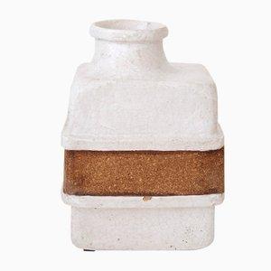 Jarrón de cerámica blanca y corcho, años 70