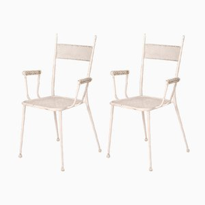 Mid-Century White Lacquered Iron Garden Chairs, 1960s, Set of 2