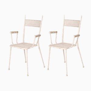 Weiß lackierte Mid-Century Gartenstühle aus Eisen, 1960er, 2er Set