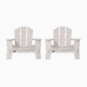 Weiß lackierte Holzstühle von Pierre Dariel, 1940er, 2er Set