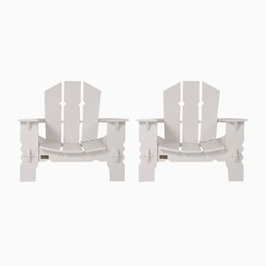 White Lacquered Wooden Chairs by Pierre Dariel, 1940s, Set of 2