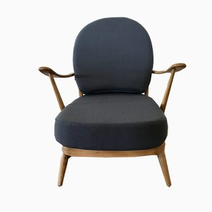 Beech and Velvet Model 203 Armchair by Lucian Ercolani for Ercol, 1970s