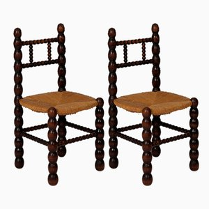 Hand-Crafted Wood & Straw Side Chairs, 1930s, Set of 2