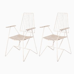 Weiß lackierte französische Esszimmerstühle aus Eisen, 1960er, 6er Set