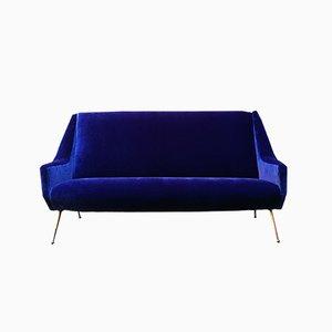 Italian Electric Blue Velvet and Brass Sofa, 1950s
