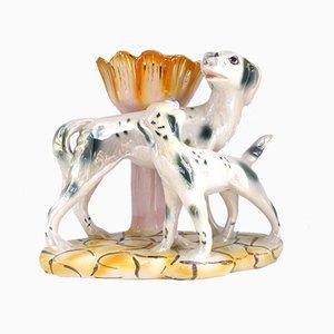 Statua di dalmata vintage in ceramica lucida di LBP