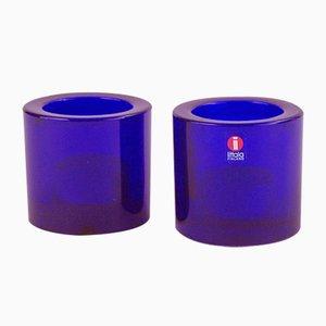 Kerzenhalter aus Glas von Heikki Orvola für Iittala, 1980er, 2er Set