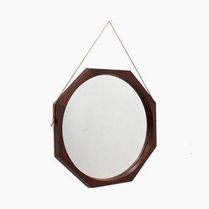 Achteckiger italienischer Mid-Century Spiegel aus Palisander, 1950er