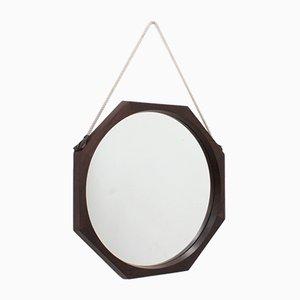 Espejo italiano Mid-Century octogonal de teca, años 50