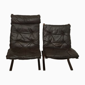 Beech and Leather Lounge Chairs by Ingmar Relling, 1960s, Set of 2