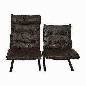 Sessel aus Buche & Leder von Ingmar Relling, 1960er, 2er Set