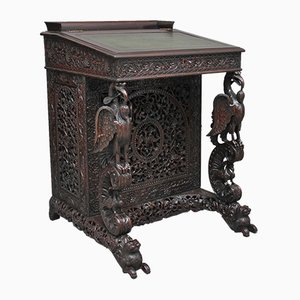 19th Century Anglo-Indian Carved Davenport, 1860s