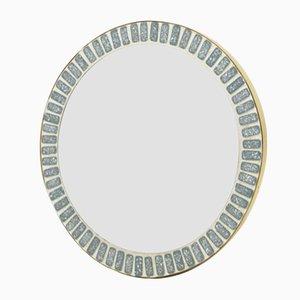 Specchio da tavolo con cornice mosaicata, anni '60