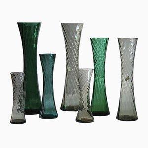 Deutsche Mid-Century Vasen aus Kristallglas, 1960er, 7er Set
