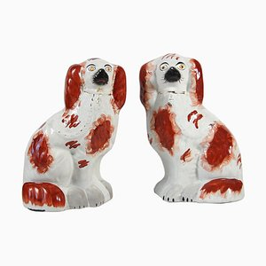 Antique Fireplace Dogs from Staffordshire, Set of 2