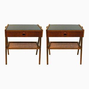 Tavolini in teak e vetro, 1960, set di 2