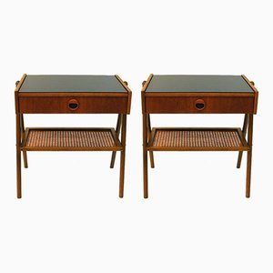 Teak and Glass Night Tables, 1960, Set of 2