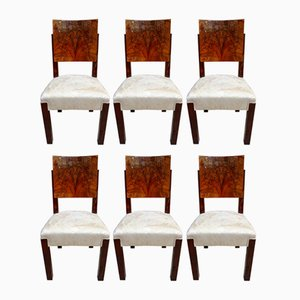 Art Deco Walnut Veneer & Palisander Dining Chairs by Michel Dufet for Le Bucheron, 1928, Set of 6