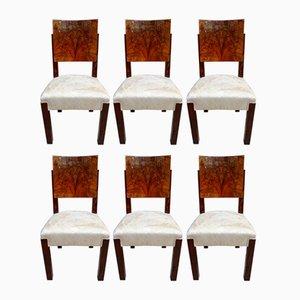 Art Deco Walnut Veneer & Palisander Dining Chairs by Michel Dufet for Le Bucheron, 1928, Set of 6