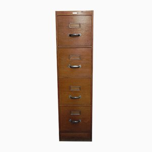 Oak Filing Cabinet with 4 Drawers, 1950s