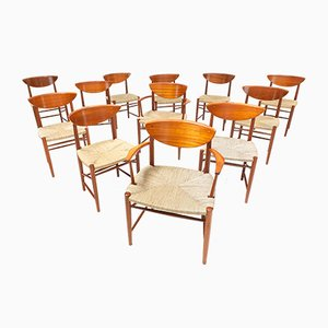 Sedie da pranzo nr. 313 & 316 di Hvidt & Mølgaard-Nielsen, anni '50, set di 12